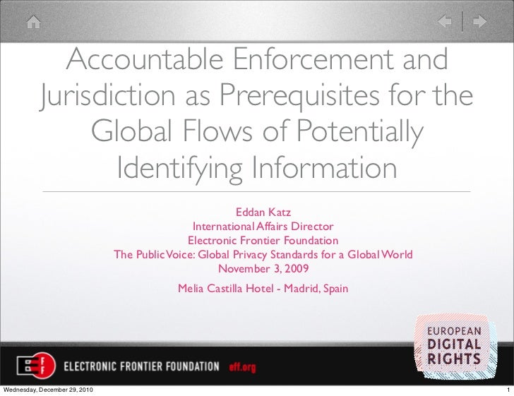 Accountable Enforcement and           Jurisdiction as Prerequisites for the                Global Flows of Potentially    ...