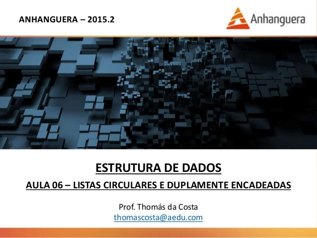 ANHANGUERA – 2015.2 ESTRUTURA DE DADOS AULA 06 – LISTAS CIRCULARES E DUPLAMENTE ENCADEADAS Prof. Thomás da Costa thomascos...