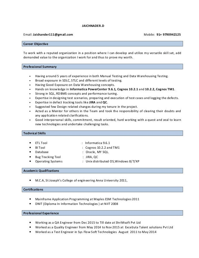 etl data warehouse resume