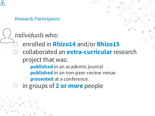 Research Participants Individuals who: ◎ enrolled in Rhizo14 and/or Rhizo15 ◎ collaborated an extra-curricular research pr...
