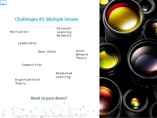 Challenges #2: Multiple lenses Motivation Actor Network Theory Organizational Theory Communities Personal Learning Network...