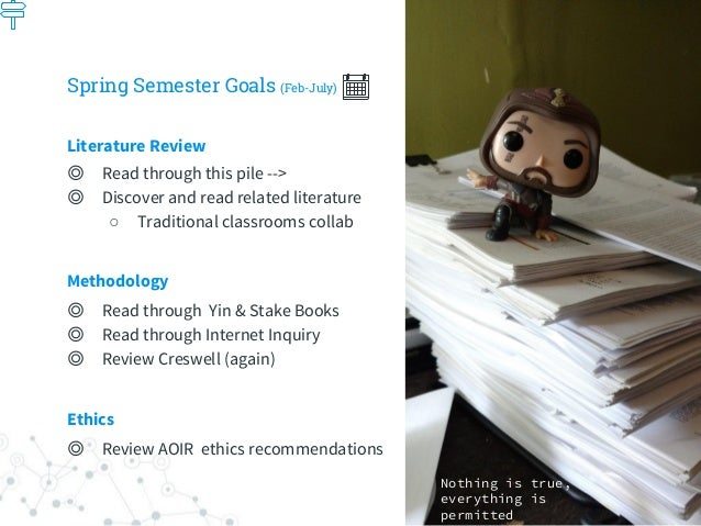 Spring Semester Goals (Feb-July) Literature Review ◎ Read through this pile --> ◎ Discover and read related literature ○ T...