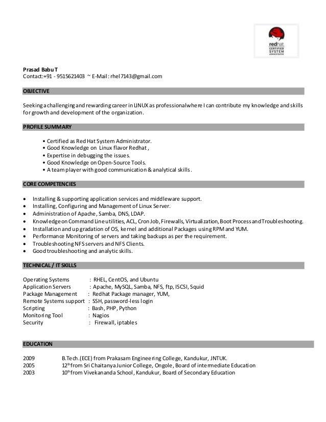 linux admin fresher resume