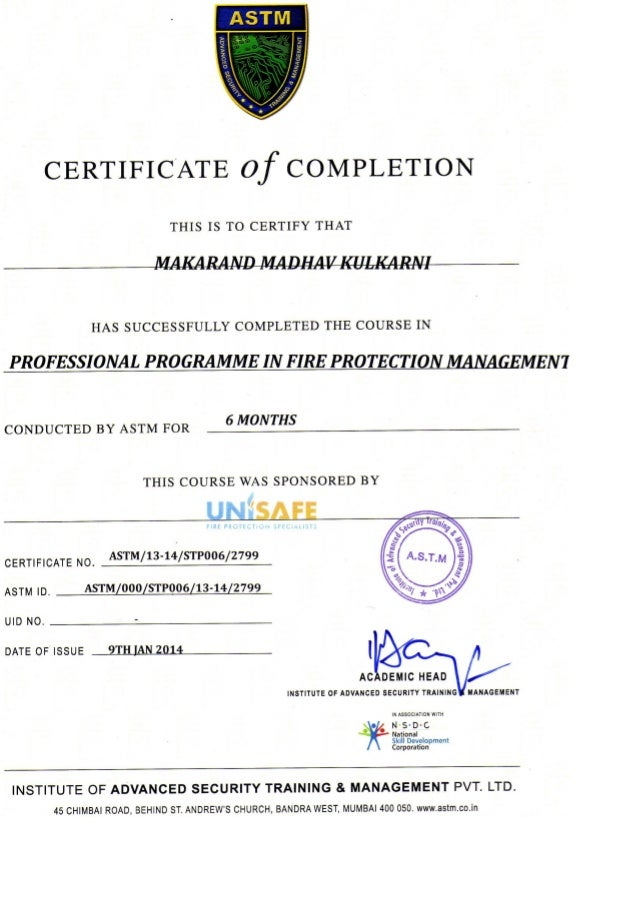22 Astm Training Certificate