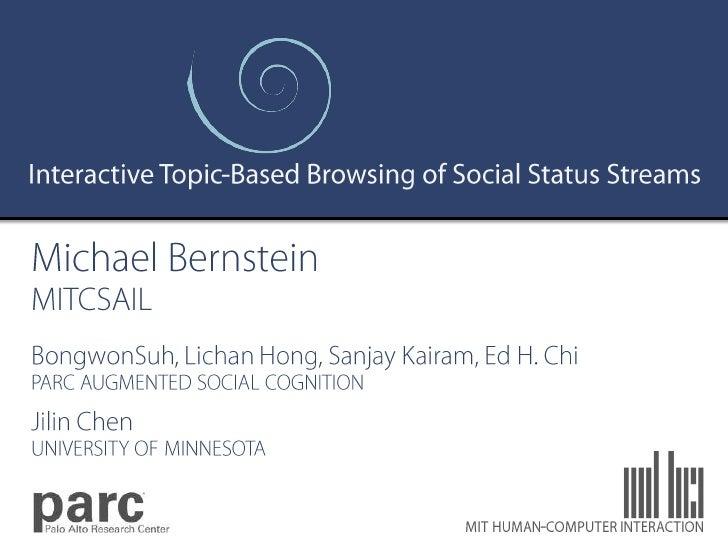 Eddi: Interactive Topic-Based Browsing of Social Status Streams