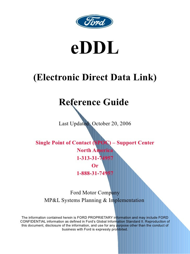 eDDL (Electronic Direct Data Link) Reference Guide   Last Updated: October 20, 2006  Single Point of Contact (SPOC) – Sup...