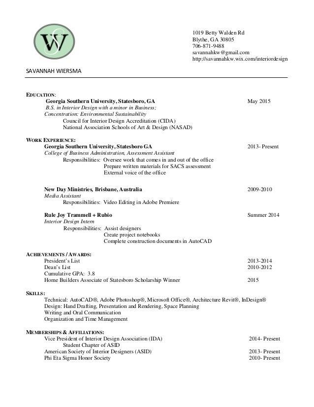 Savannah wiersma resume references - Interior design colleges in georgia ...