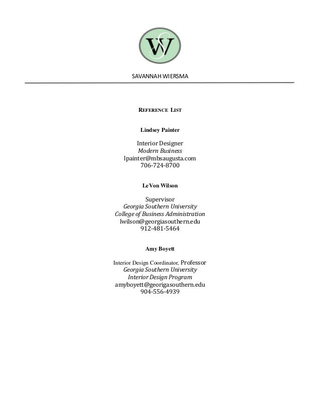 Savannah Wiersma Resume References – Business Reference List