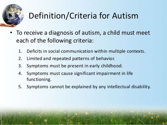 the definition of autism pdf