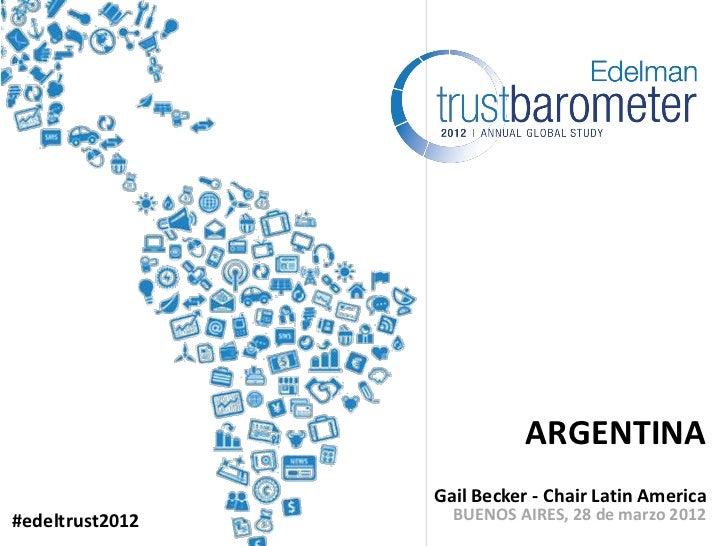ARGENTINA                 Gail Becker - Chair Latin America#edeltrust2012     BUENOS AIRES, 28 de marzo 2012