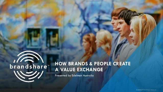HOW BRANDS & PEOPLE CREATE A VALUE EXCHANGE Presented by Edelman Australia brandshareTM 2014 © Daniel J. Edelman, Inc .