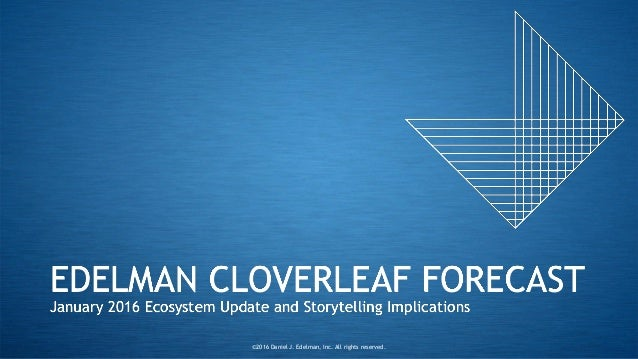 EDELMAN CLOVERLEAF FORECAST January 2016 Ecosystem Update and Storytelling Implications ©2016 Daniel J. Edelman, Inc. All ...