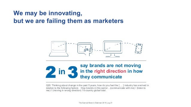 We may be innovating, but we are failing them as marketers The Earned Brand | Edelman 2015 | pg 21 say brands are not movi...