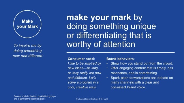 Make your Mark make your mark by doing something unique or differentiating that is worthy of attention The Earned Brand | ...