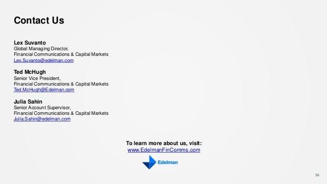 36 Contact Us Lex Suvanto Global Managing Director, Financial Communications & Capital Markets Lex.Suvanto@edelman.com Ted...