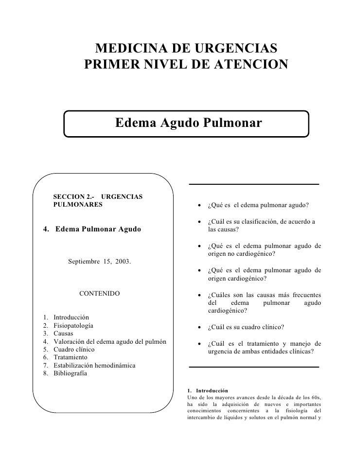 MEDICINA DE URGENCIAS               PRIMER NIVEL DE ATENCION                             Edema Agudo Pulmonar          SEC...