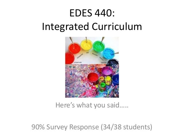 EDES 440: Integrated Curriculum  Here's what you said…..  90% Survey Response (34/38 students)