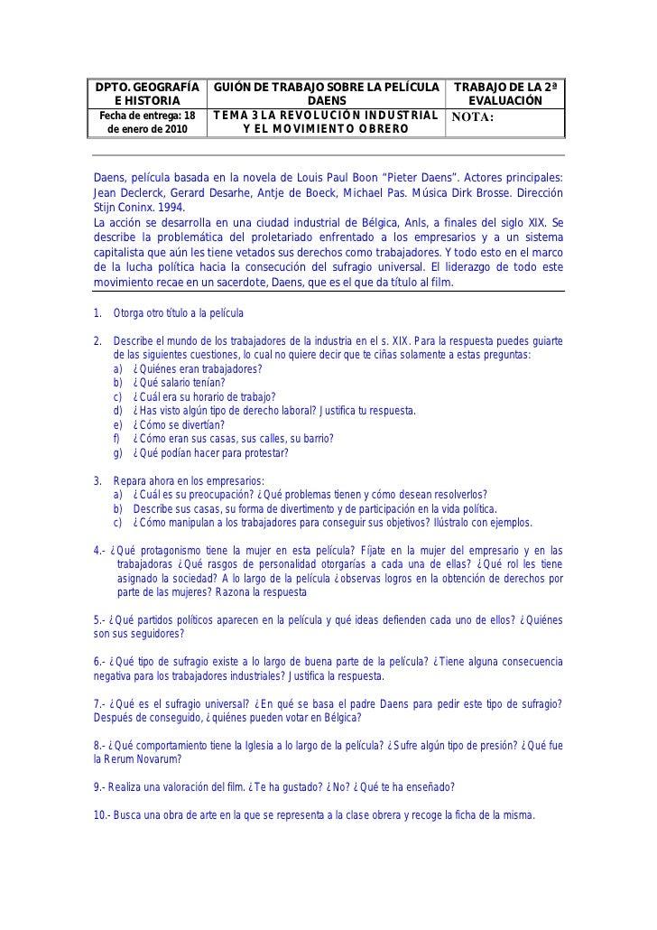 DPTO. GEOGRAFÍA            GUIÓN DE TRABAJO SOBRE LA PELÍCULA                    TRABAJO DE LA 2ª   E HISTORIA            ...