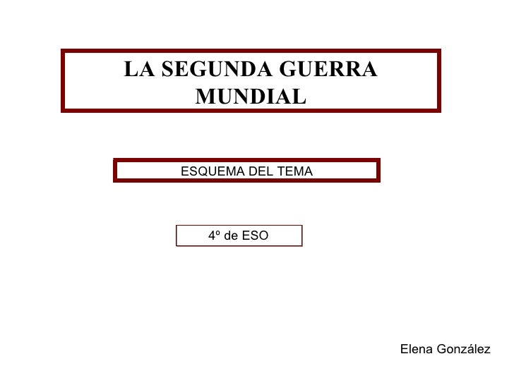 LA SEGUNDA GUERRA MUNDIAL ESQUEMA DEL TEMA 4º de ESO Elena González