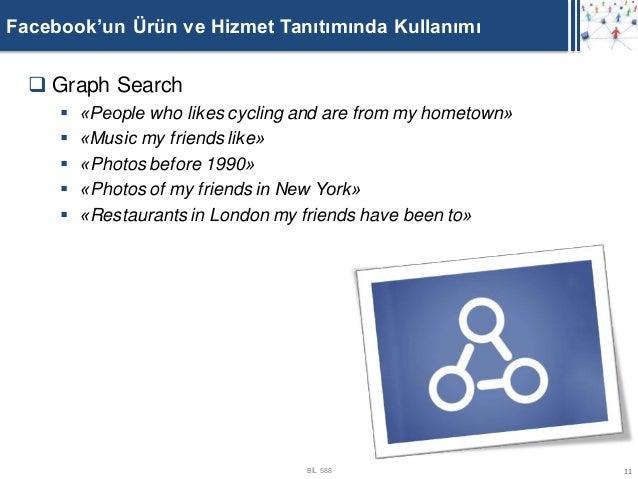 Facebook'un Ürün ve Hizmet Tanıtımında Kullanımı   Graph Search        «People who likes cycling and are from my hometow...