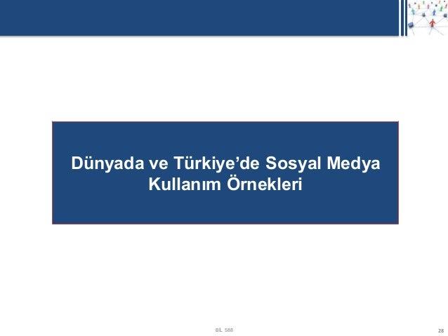 Dünyada ve Türkiye'de Sosyal Medya        Kullanım Örnekleri               BİL 588               28