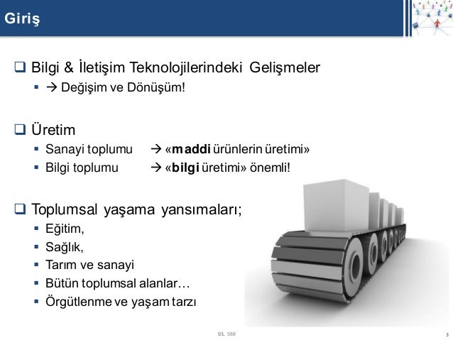 Giriş  Bilgi & İletişim Teknolojilerindeki Gelişmeler      Değişim ve Dönüşüm!  Üretim     Sanayi toplumu      «madd...