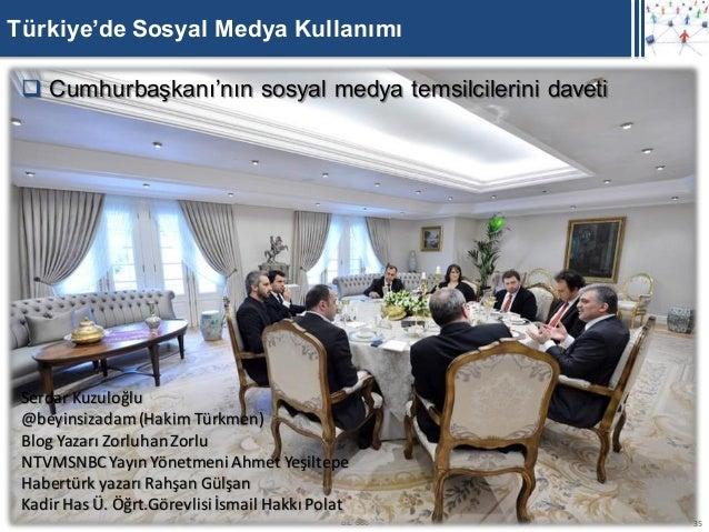 Türkiye'de Sosyal Medya Kullanımı  Cumhurbaşkanı'nın sosyal medya temsilcilerini daveti Serdar Kuzuloğlu @beyinsizadam (H...