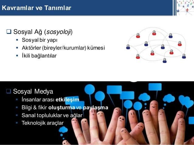 Kavramlar ve Tanımlar  Sosyal Ağ (sosyoloji)     Sosyal bir yapı     Aktörler (bireyler/kurumlar) kümesi     İkili bağ...