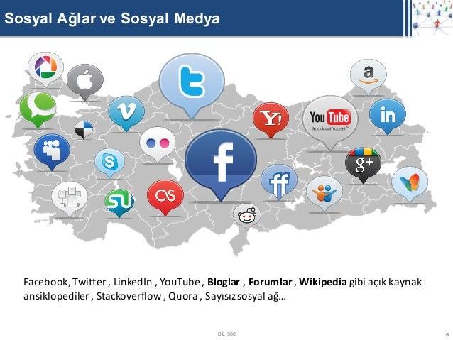 Sosyal Ağlar ve Sosyal Medya  Facebook, Twitter , LinkedIn , YouTube , Bloglar , Forumlar , Wikipedia gibi açık kaynak  an...