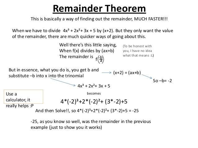 the remainder theorem worksheet