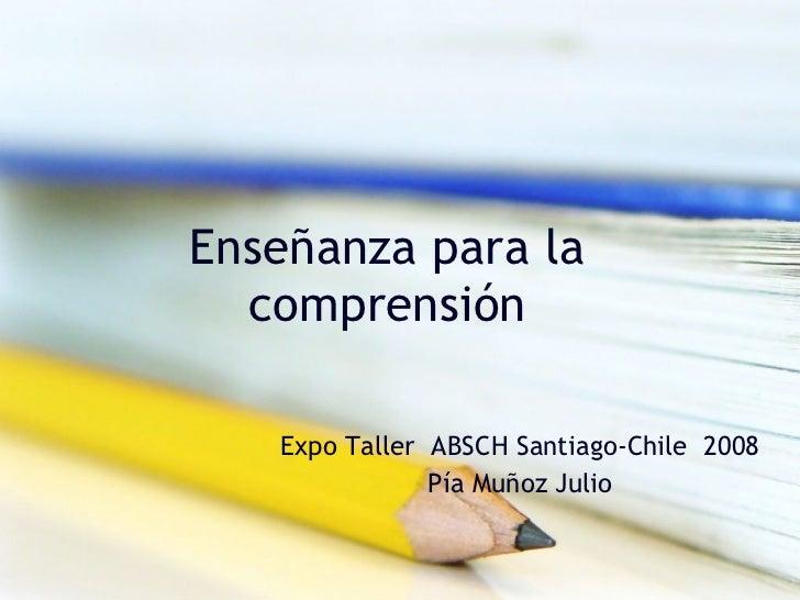 Enseñanza para la comprensión Expo Taller  ABSCH Santiago-Chile  2008 Pía Muñoz Julio