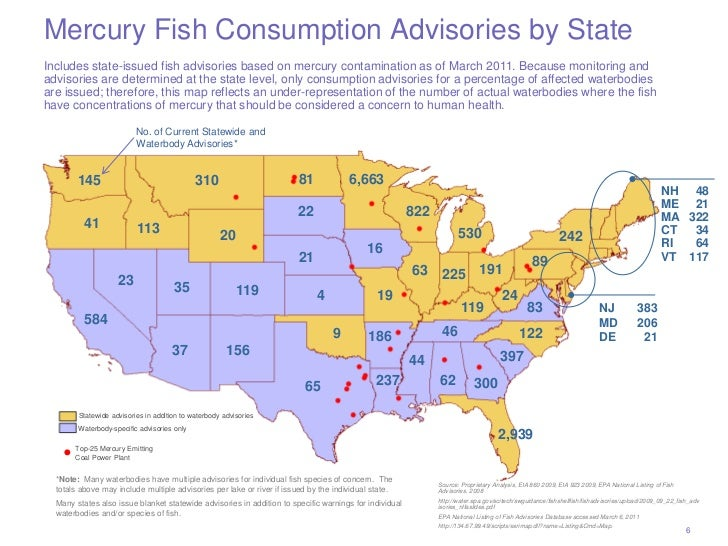 Mercury Fish Consumption Advisories by StateIncludes state-issued fish advisories based on mercury contamination as of Mar...
