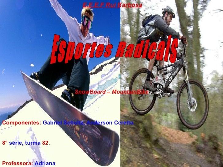 Esportes Radicais E.E.E.F Rui Barbosa Componentes:   Gabriel Schultz, Anderson Ceretta. 8°   série, turma   82 . Professor...