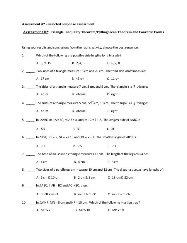 Triangle Inequality Theorem Worksheet Free Worksheets Library ...