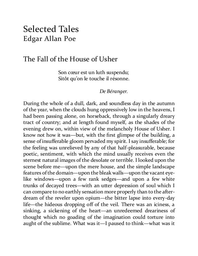 Edgar Allan Poe Selected Tales 1 – The Fall of the House of Usher Worksheet