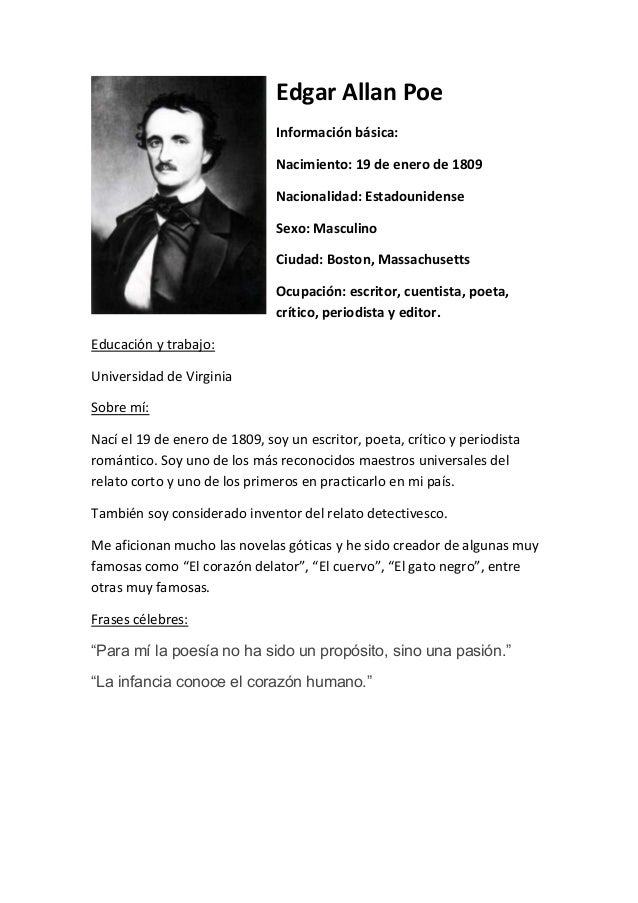 edgar allen poe biography In october 1849, edgar allan poe was found near death on the streets of  who  investigated griswold's biography, he painted poe as a poor,.