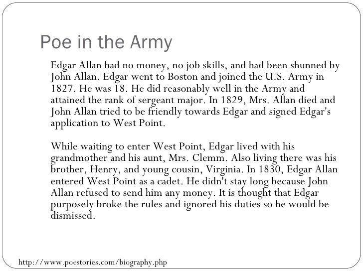 an introduction to the life of edgar allan poe Browse through edgar allan poe's poems and quotes 69 poems of edgar allan poe phenomenal woman, still i rise, the road not taken, if you forget me, dreams edgar allen poe was an american author early life he was born edgar poe in boston, massachusetts, on january 19.