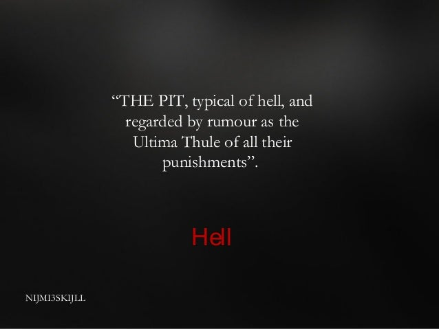the themes of hell and god in poes the pit and the pendulum Poe's raven essay edgar allan poe's  poes the cask of amontillado: themes the pit and the pendulum by edgar allan poe  for the love of god, poe.