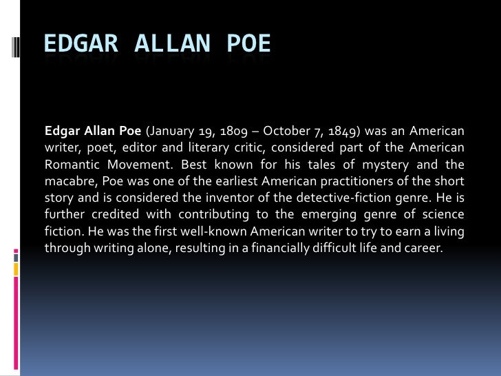 Edgar Allan Poe Poetry: American Poets Analysis - Essay
