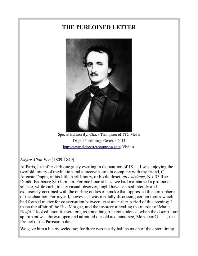The Stolen Letter By Edgar Allan Poe
