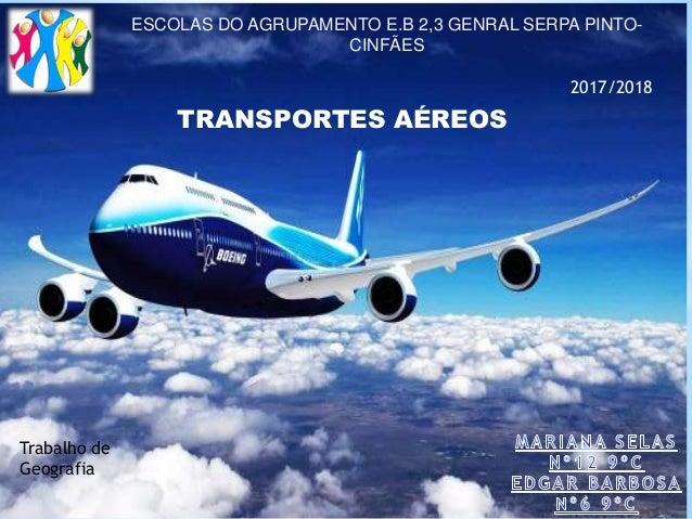 TRANSPORTES AÉREOS ESCOLAS DO AGRUPAMENTO E.B 2,3 GENRAL SERPA PINTO- CINFÃES 2017/2018 Trabalho de Geografia