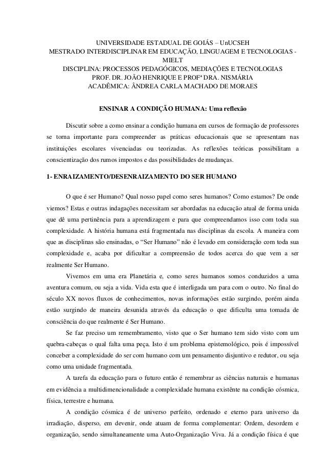 1 UNIVERSIDADE ESTADUAL DE GOIÁS – UnUCSEH MESTRADO INTERDISCIPLINAR EM EDUCAÇÃO, LINGUAGEM E TECNOLOGIAS - MIELT DISCIPLI...