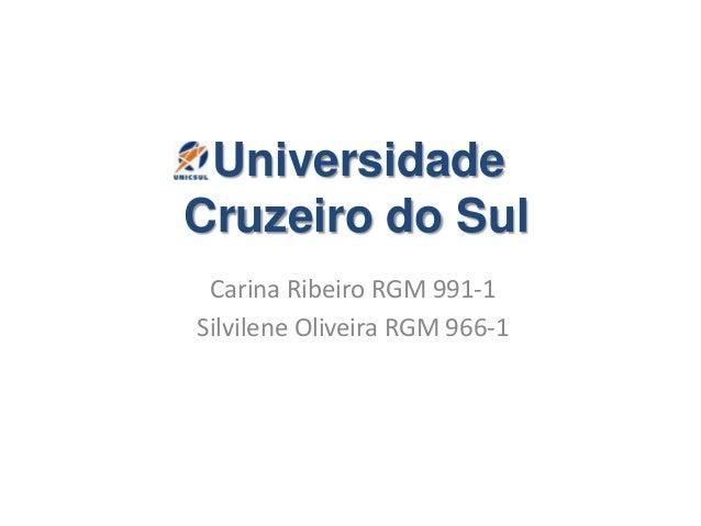 Universidade Cruzeiro do Sul Carina Ribeiro RGM 991-1 Silvilene Oliveira RGM 966-1