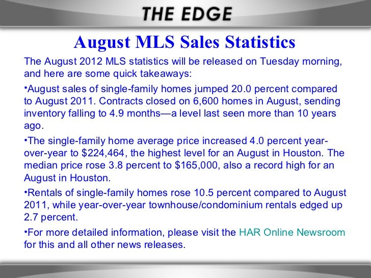August MLS Sales StatisticsThe August 2012 MLS statistics will be released on Tuesday morning,and here are some quick take...