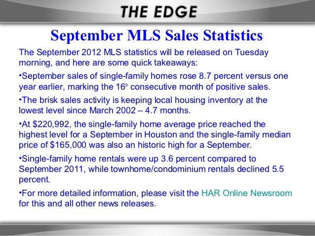 September MLS Sales StatisticsThe September 2012 MLS statistics will be released on Tuesdaymorning, and here are some quic...