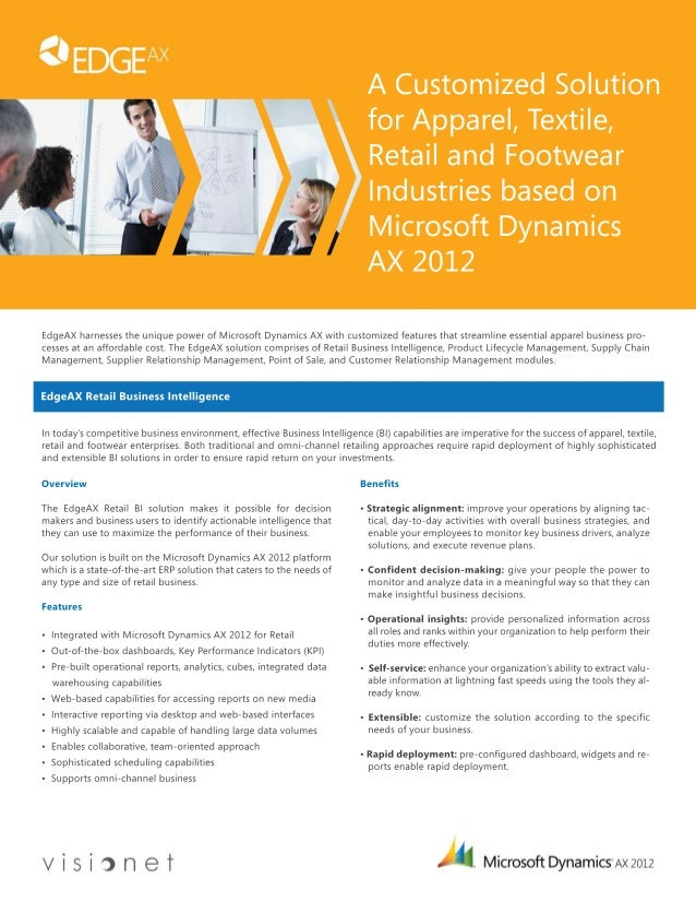 A Customized Solution  for Apparel, Textile,  Retail and Footwear  Industries based on  Microsoft Dynamics  AX 2012  EdgeA...