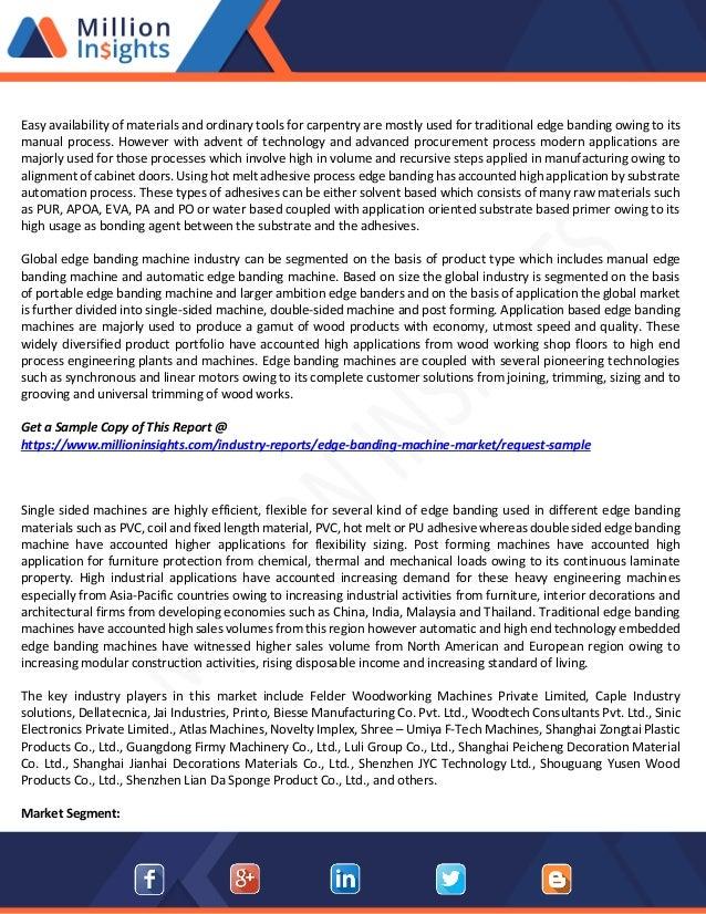 Edge Banding Machine Market Manufacturers,Types,Regions and Applicati…