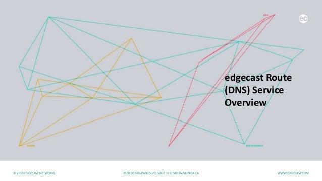 edgecast Route (DNS) Service Overview 10-01-2013© 2013 EDGECAST NETWORKS 2850 OCEAN PARK BLVD, SUITE 110, SANTA MONICA CA ...