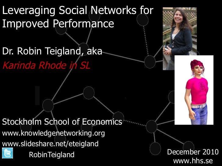 <ul><li>Leveraging Social Networks for  </li></ul><ul><li>Improved Performance </li></ul><ul><li>Dr. Robin Teigland, aka <...