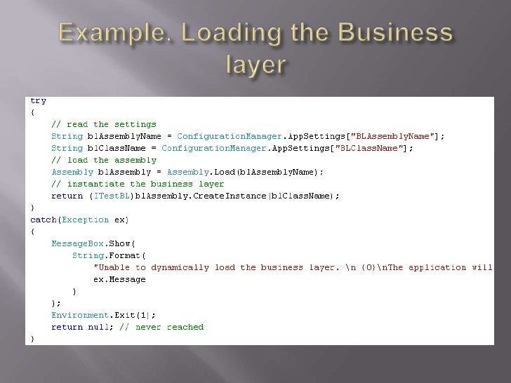 Example. Loading the Business layer<br />